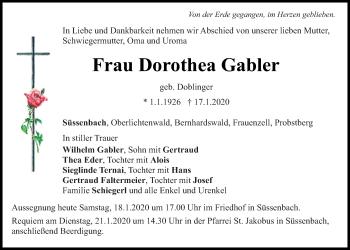 Traueranzeige von Dorothea Gabler von Mittelbayerische Zeitung Regensburg