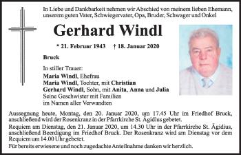 Traueranzeige von Gerhard Windl von Mittelbayerische Zeitung Schwandorf