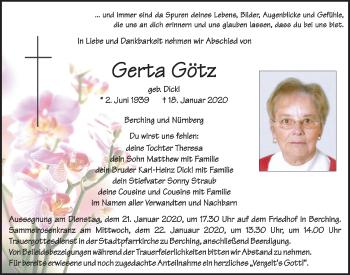 Traueranzeige von Gerta Götz von Neumarkter Tagblatt