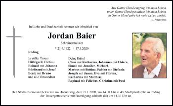 Traueranzeige von Jordan Baier von Bayerwald Echo