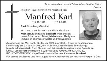 Traueranzeige von Manfred Karl von Mittelbayerische Zeitung Kelheim