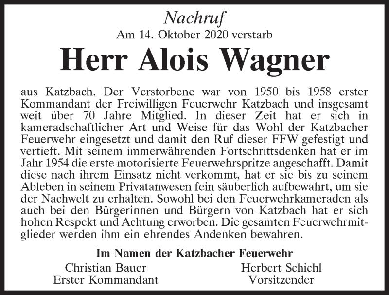 Traueranzeige für Alois Wagner vom 23.10.2020 aus Bayerwald Echo