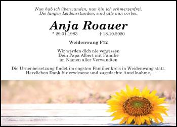 Traueranzeige von Anja Roauer von Neumarkter Tagblatt