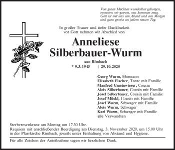 Traueranzeige von Anneliese Silberbauer-Wurm von Bayerwald Echo