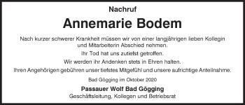 Traueranzeige von Annemarie Bodem von Mittelbayerische Zeitung Kelheim