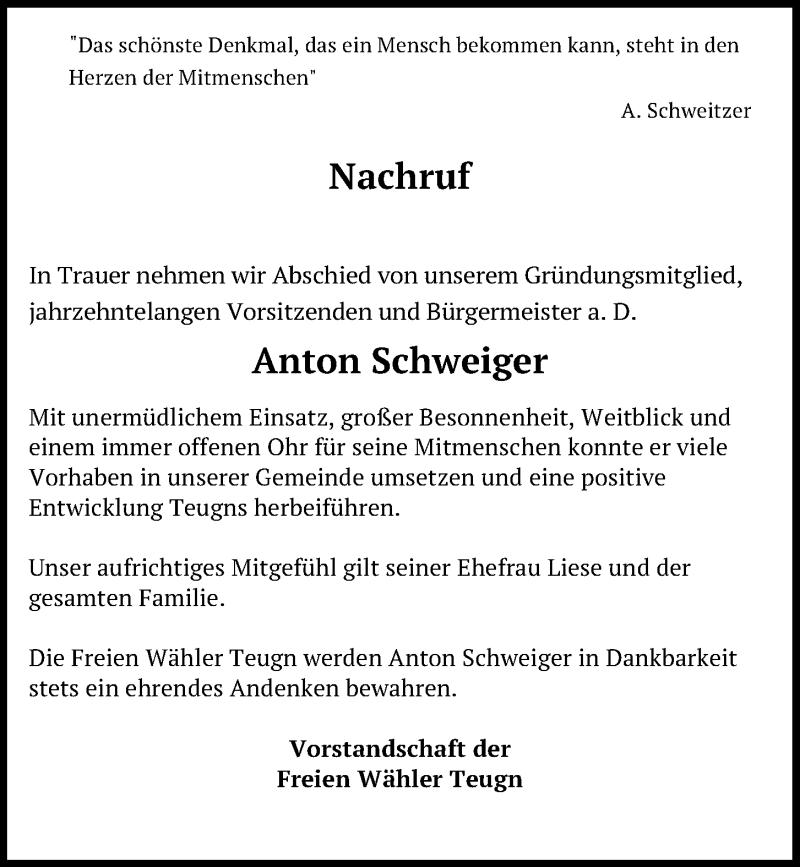 Traueranzeige für Anton Schweiger vom 17.10.2020 aus Mittelbayerische Zeitung Kelheim