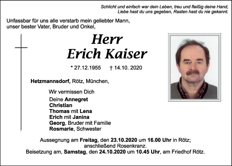 Traueranzeige für Erich Kaiser vom 22.10.2020 aus Bayerwald Echo