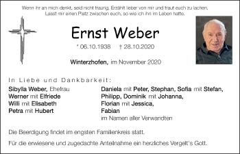 Traueranzeige von Ernst Weber von Neumarkter Tagblatt