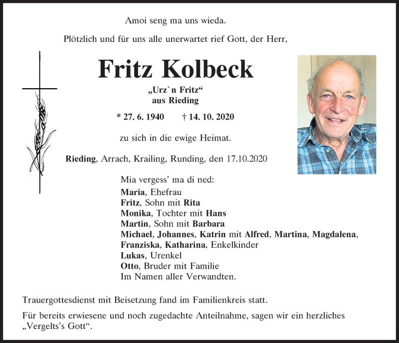 Traueranzeige für Fritz Kolbeck vom 17.10.2020 aus Bayerwald Echo