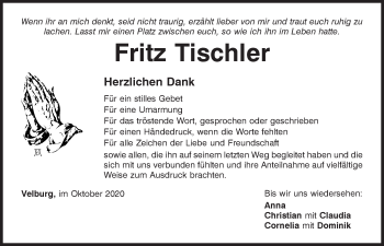 Traueranzeige von Fritz Tischler von Neumarkter Tagblatt