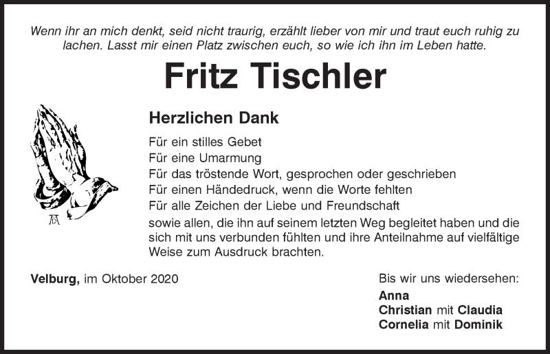 Traueranzeige für Fritz Tischler vom 17.10.2020 aus Neumarkter Tagblatt