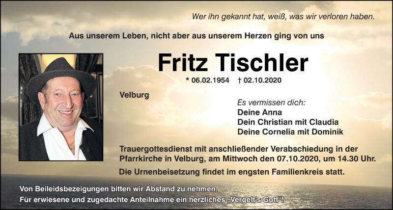 Traueranzeige für Fritz Tischler vom 06.10.2020 aus Neumarkter Tagblatt