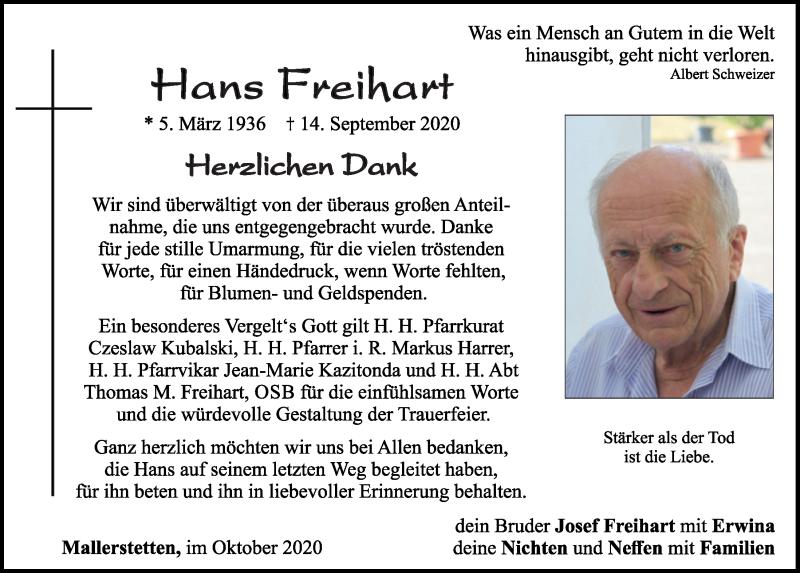 Traueranzeige für Hans Freihart vom 05.10.2020 aus Neumarkter Tagblatt