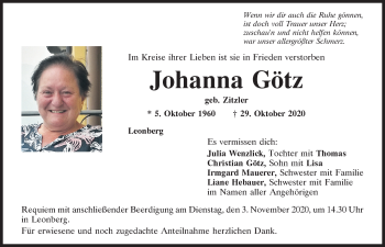 Traueranzeige von Johanna Götz von Mittelbayerische Zeitung Schwandorf