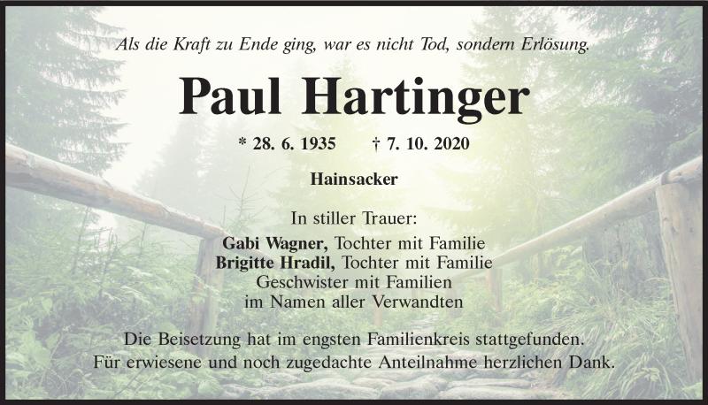 Traueranzeige für Paul Hartfinger vom 17.10.2020 aus Mittelbayerische Zeitung Regensburg