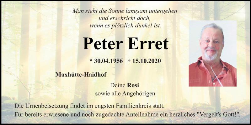 Traueranzeige für Peter Erret vom 17.10.2020 aus Mittelbayerische Zeitung Schwandorf