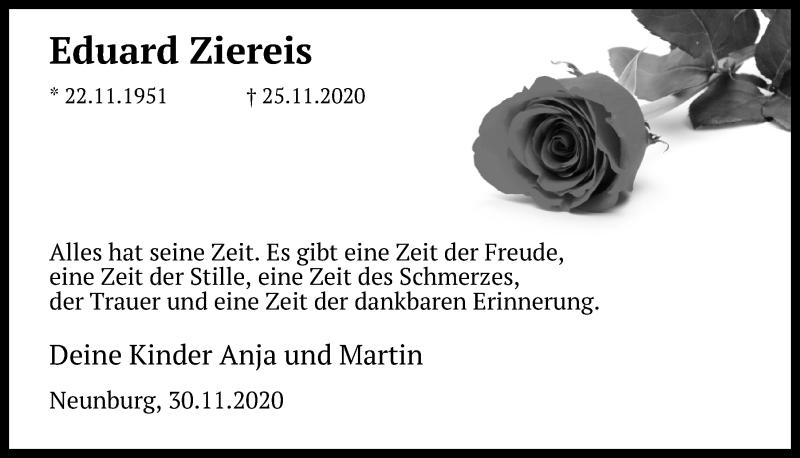 Traueranzeige für Eduard Ziereis vom 01.12.2020 aus Mittelbayerische Zeitung Schwandorf