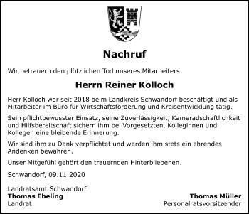 Traueranzeige von Reiner Kolloch von Mittelbayerische Zeitung Schwandorf