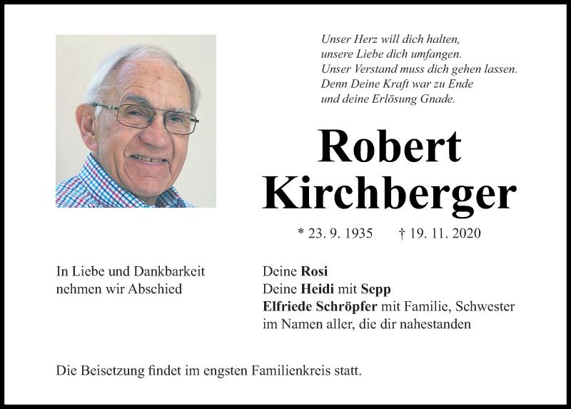 Traueranzeige für Robert Kirchberger vom 21.11.2020 aus Mittelbayerische Zeitung Regensburg