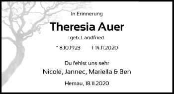 Traueranzeige von Theresia Auer von Mittelbayerische Zeitung Regensburg
