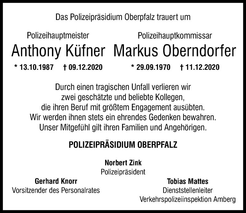 Traueranzeige für Anthony Küfner vom 16.12.2020 aus Mittelbayerische Zeitung Schwandorf