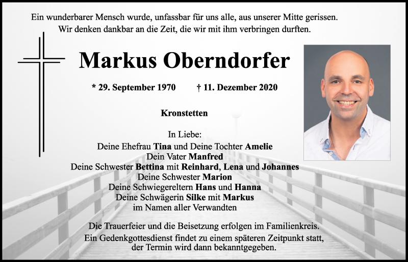 Traueranzeige für Markus Oberndorfer vom 17.12.2020 aus Mittelbayerische Zeitung Schwandorf