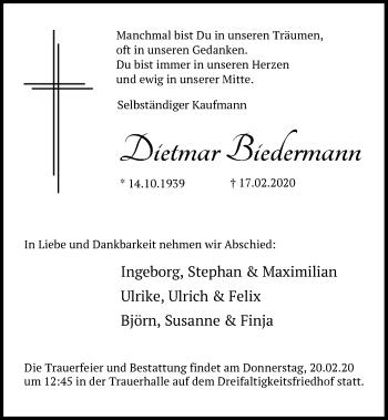 Traueranzeige von Dietmar Biedermann von Mittelbayerische Zeitung Regensburg