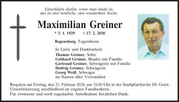 Traueranzeige von Maximilian Greiner von Mittelbayerische Zeitung Regensburg