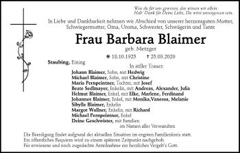 Traueranzeige von Barbara Blaimer von Mittelbayerische Zeitung Kelheim