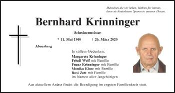Traueranzeige von Bernhard Krinninger von Mittelbayerische Zeitung Kelheim