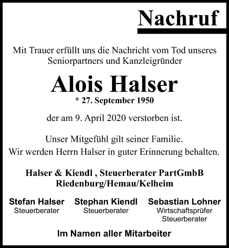 Traueranzeige für Alois Halser vom 18.04.2020 aus Mittelbayerische Zeitung Regensburg