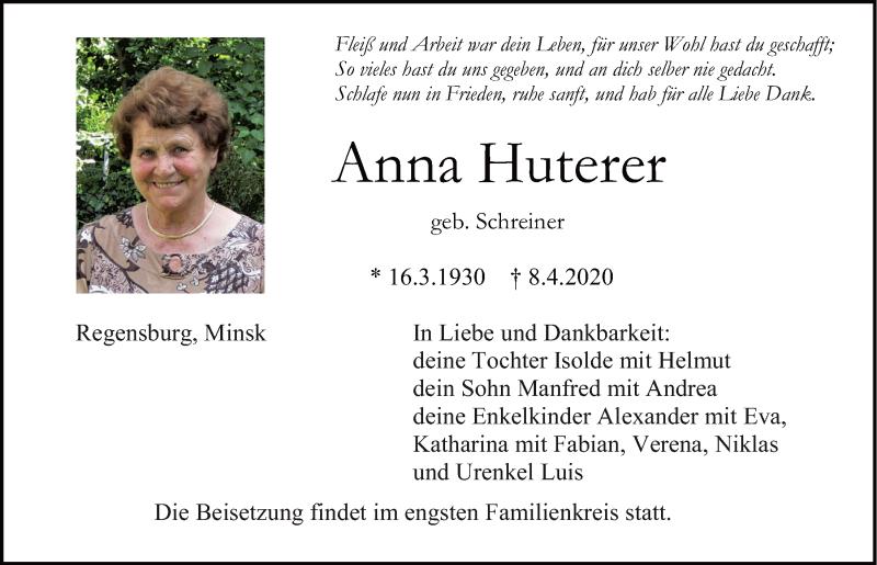 Traueranzeige für Anna Huterer vom 11.04.2020 aus Mittelbayerische Zeitung Regensburg