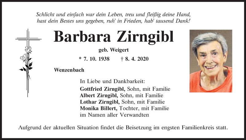 Traueranzeige für Barbara Zirngibl vom 11.04.2020 aus Mittelbayerische Zeitung Regensburg