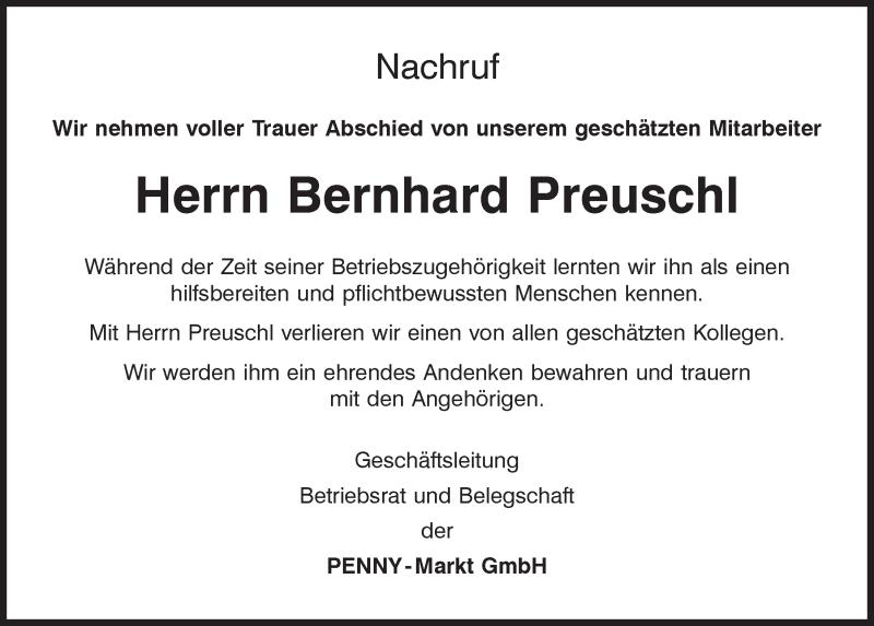 Traueranzeige für Bernhard Preuschl vom 25.04.2020 aus Mittelbayerische Zeitung Regensburg