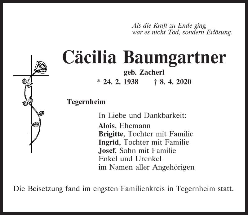 Traueranzeige für Cäcilia Baumgartner vom 18.04.2020 aus Mittelbayerische Zeitung Regensburg