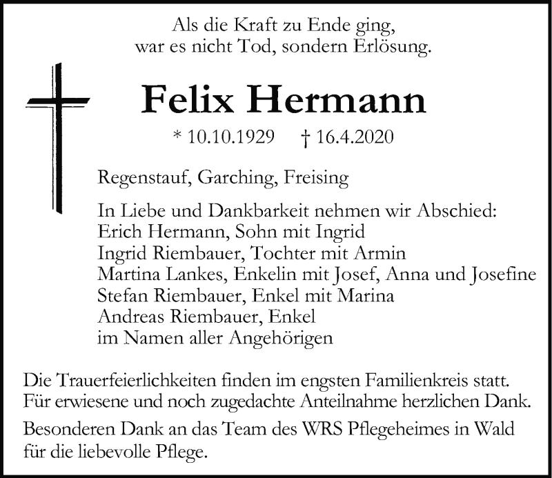 Traueranzeige für Felix Hermann vom 22.04.2020 aus Mittelbayerische Zeitung Regensburg