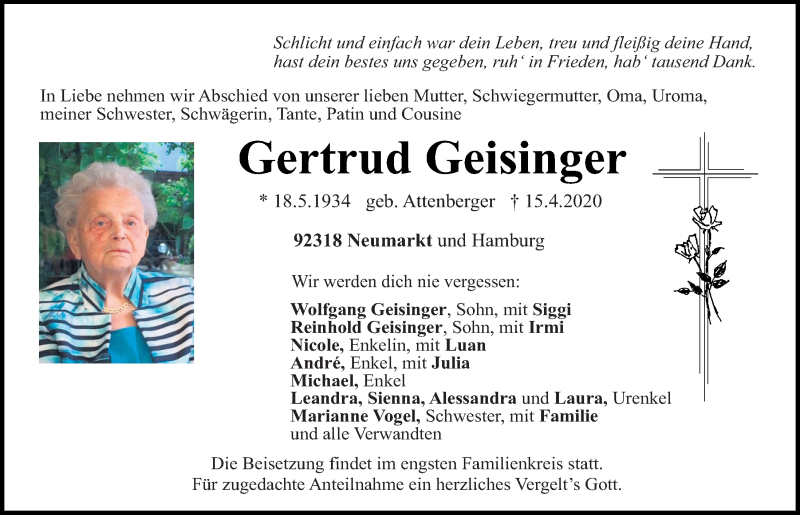 Traueranzeige für Gertrud Geisinger vom 16.04.2020 aus Neumarkter Tagblatt