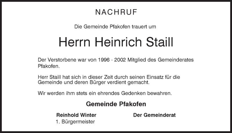 Traueranzeige für Heinrich Staill vom 22.04.2020 aus Mittelbayerische Zeitung Regensburg