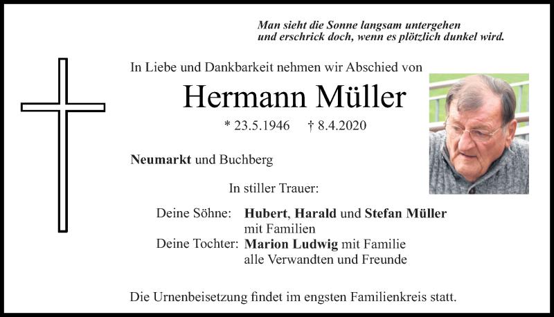 Traueranzeige für Hermann Müller vom 11.04.2020 aus Neumarkter Tagblatt
