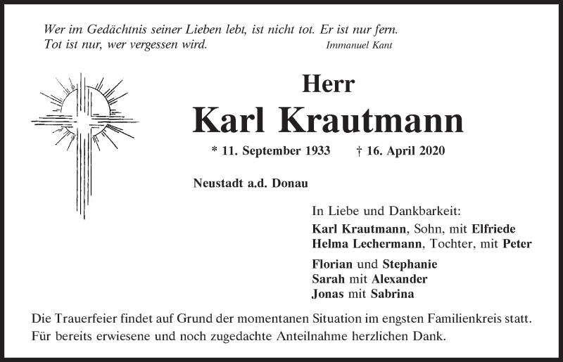 Traueranzeige für Karl Krautmann vom 18.04.2020 aus Mittelbayerische Zeitung Kelheim
