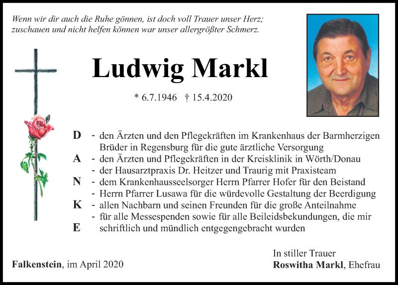 Traueranzeige für Ludwig Markl vom 29.04.2020 aus Bayerwald Echo