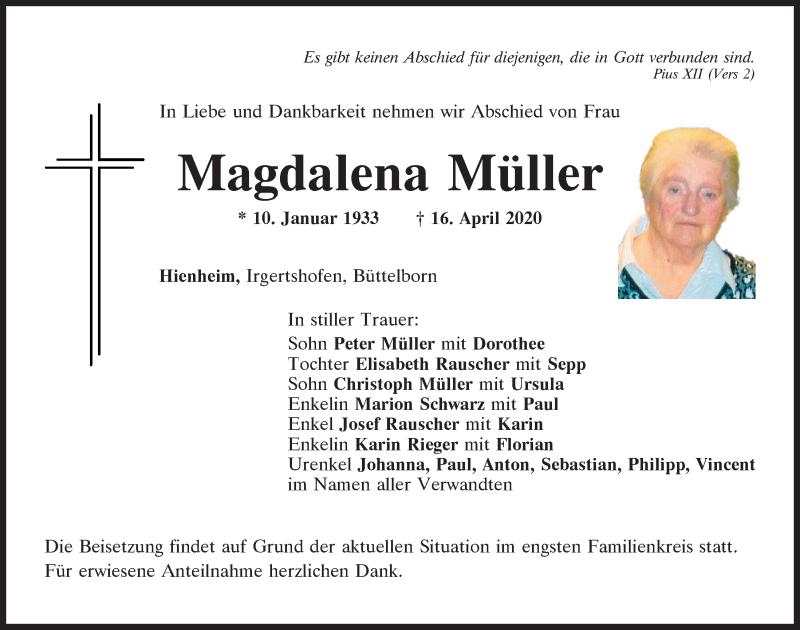 Traueranzeige für Magdalena Müller vom 21.04.2020 aus Mittelbayerische Zeitung Kelheim