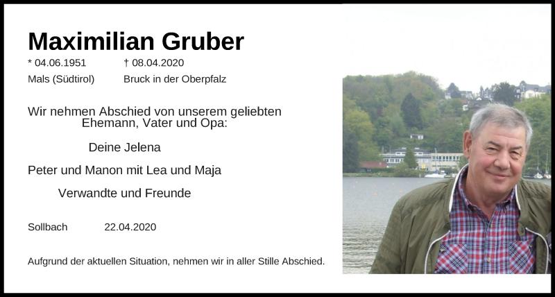 Traueranzeige für Maximilian Gruber vom 24.04.2020 aus Mittelbayerische Zeitung Schwandorf