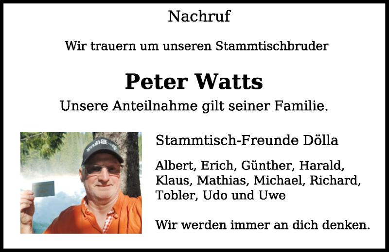 Traueranzeige für Peter Watts vom 30.04.2020 aus Neumarkter Tagblatt