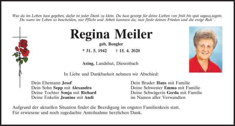 Traueranzeige für Regina Meiler vom 18.04.2020 aus Mittelbayerische Zeitung Regensburg