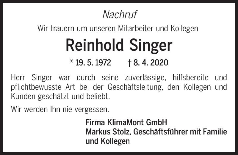 Traueranzeige für Reinhold Singer vom 11.04.2020 aus Mittelbayerische Zeitung Regensburg