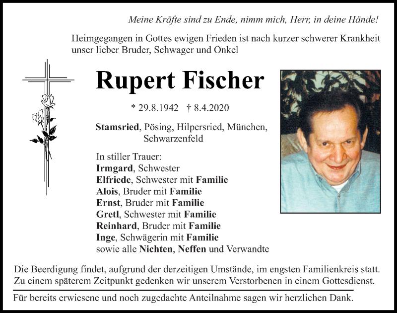 Traueranzeige für Rupert Fischer vom 09.04.2020 aus Bayerwald Echo