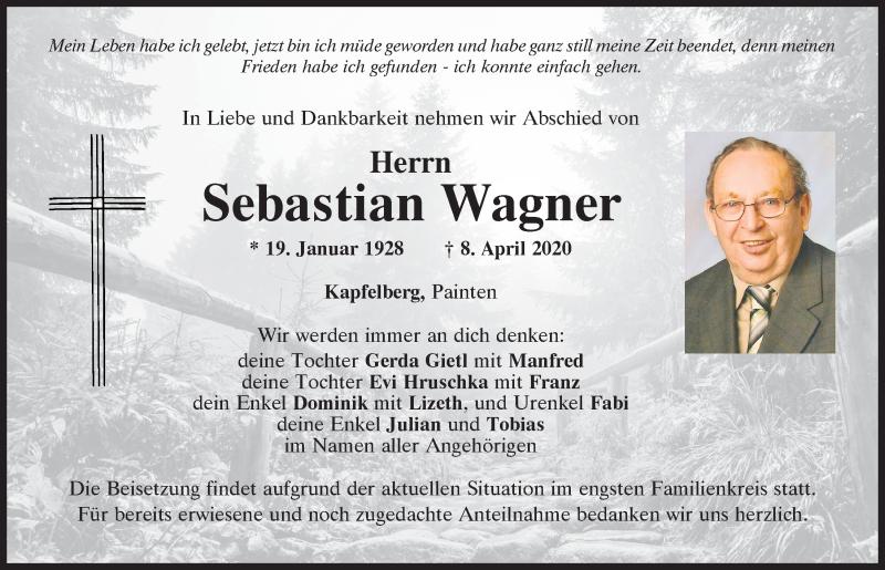 Traueranzeige für Sebastian Wagner vom 11.04.2020 aus Mittelbayerische Zeitung Kelheim