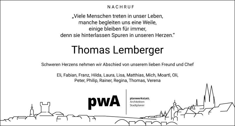 Traueranzeige für Thomas Lemberger vom 21.04.2020 aus Bayerwald Echo