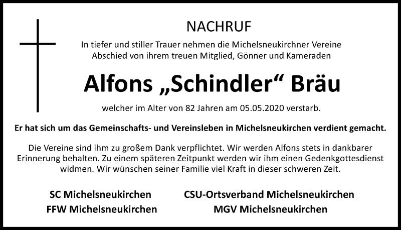 Traueranzeige für Alfons Bräu vom 12.05.2020 aus Bayerwald Echo
